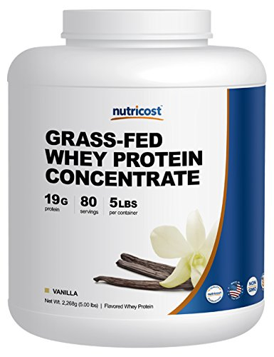 Cheap Nutricost Grass-Fed Whey Protein Concentrate (Vanilla) 5LBS – Undenatured, Non-GMO, Gluten Free, Natural Flavors