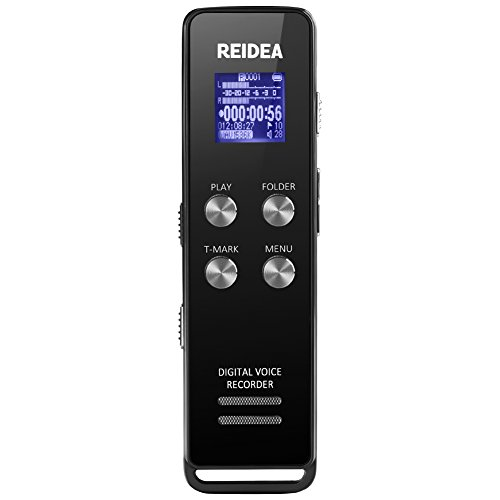 REIDEA 8GB Digital Voice Recorder with One-Step Noise Reduction & T-Mark Function, Digital Audio Sound Recorder Dictaphone with MP3 Player, Black