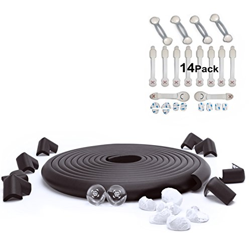 SafeBaby & Child Safety Edge Corner Guard Set. 23.2ft/16 Baby proofing furniture foam/Clear bumpers +14 Lock Set. Fridge childproof toilet lead, cabinet door, drawer, cupboard, appliance.Black white - Safety Center