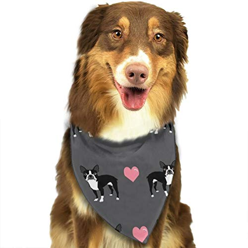 NOWDIDA Boston Terrier Love Hearts Dog Bandana - Small Medium and Large Bandanas for Every Occasion Or Holiday - Easy to Tie On Your Cats Or Dogs Or Puppy - Comfortable and Stylish Pet Accessories -