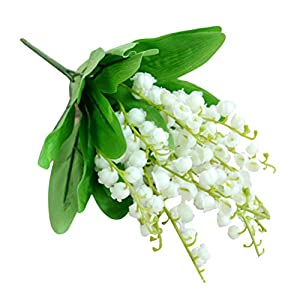 Vosarea 5pcs Artificial Lily of The Valley Flowers, Artificial Flowers Bouquet for Home Decor Wedding Props (Green) 92