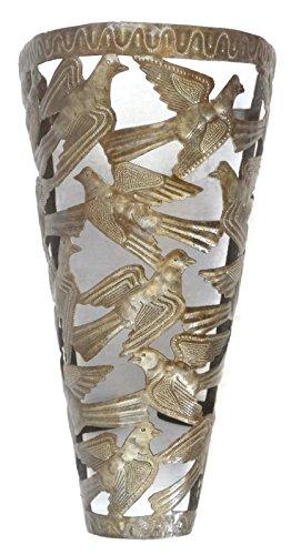 Bird Wall Sconce, Light Cover, Haitian Metal Wall Art, Luminary 10