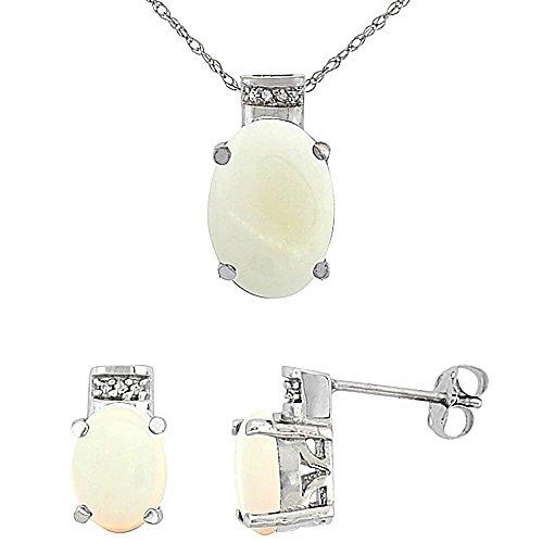 Boucles d'oreille et pendentif opale ovale naturel or blanc 9carats de diamants Accents