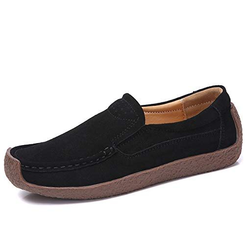 UPIShi Womens Casual Driving Leather Slip-on Penny Loafer Suede Comfortable Flat Walking Lightweight Shoes Black 36