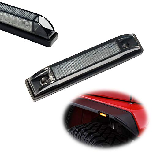 2dr Side Clear Marker - iJDMTOY Smoked 6-LED Amber Fender Flare Side Marker Lamps For Jeep Wrangler, One Pair Dark Smoke Lens, Compatible with Bushwacker Flat Style Fender Flares