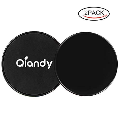 Qiandy Gliding Discs,Core Sliders, Excise Disc with Double Side and Work Smoothly on Any Surface, Compact for Travel and Home Ab Workout(Black) (Glider Travel System)