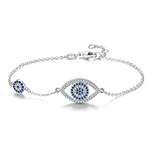 Kaletine Blue Evil Eyes Link Bracelet Sterling Silver 925 Cubic Zirconia Chain Adjustable 6.3