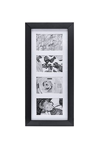 Malden 4x6 4Opening Collage Matted Picture Frame, Displays Four, Black ()