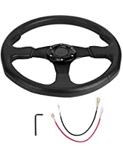 Acouto 350mm/14in Racing Steering Wheel,Universal Car Sport Steering Wheel Deep Dish 6 Bolts Modified Accessory(Black)