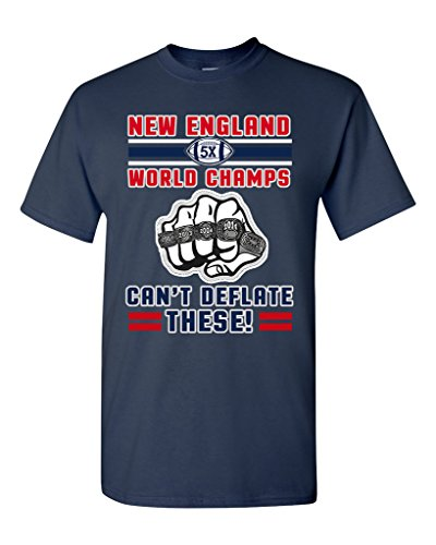 World Champs Can't Deflate These Football Sports DT Adult T-Shirt Tee (X Large, Navy Blue)