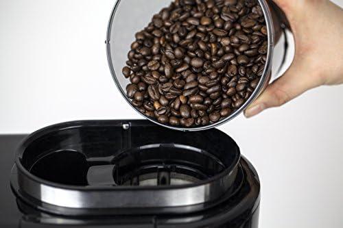 Caso 1849 Cafetière Filtre avec Broyeur Intégré Coffee Compacte, 600 W, Noir/INOX