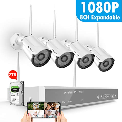 8CH 1080P Security Camera System Wireless,SAFEVANT Home Security Camera System(2TB Hard Drive),4PCS 1080P(2.0Megapixel) Indoor Outdoor Wireless Security Cameras,Plug&Play,NO Monthly Fee