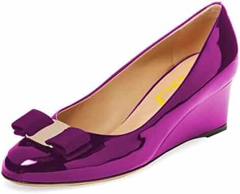 e01b6d1c6ccbb FSJ Women Elegant Wedge High Heels Pumps Closed Toe Slip On Formal Bowknot  Dress Shoes Size
