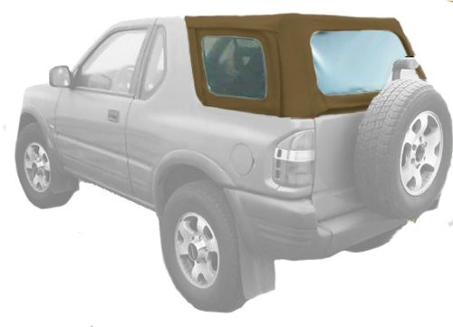 Acme C930/Clear-CB1717 Saddle on Black Cabriolet Vinyl SUV Soft Top for Isuzu ()