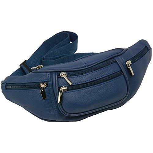 6 Pocket Genuine Solid (not patch) Leather Waist Pack, Fanny Pack. Large adjustable (Genuine Value Pack)