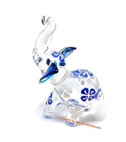 (Handmade Mini Blue Elephant (Stand Action) Art Glass Blown Wild Animal Figurine No.3 - Model Y2017 (Blue, Stand) )