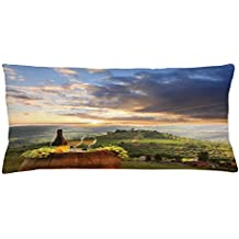 Lunarable Winery Throw Pillow Cushion Cover, Vineyard in Chianti Tuscany Italy Autumn Sunrise Dramatic Clouds, Decorative Square Accent Pillow Case, 36 X 16 Inches, Lime Green Pale Blue Yellow