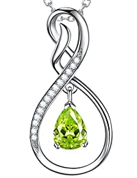Fine Jewelry ❤️ Forever Love ❤️ August Birthstone Created Green Peridot Necklace for Women Teen Girls Birthday Gifts for Mom Wife Anniversary Gifrts for Her Sterling Silver Jewelry