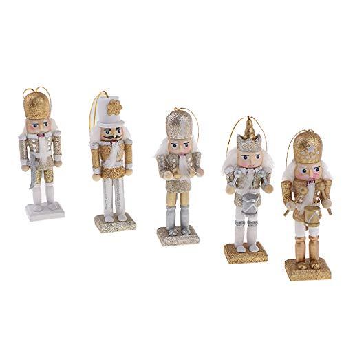 Baoblaze 5 Piezas 12 Cm Cascanueces De Solider Figuras Modelo Muñeca Marioneta Decoración Para Hogar