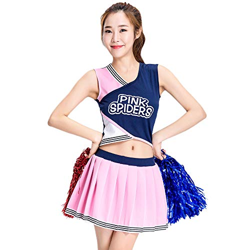 A-line Skirt Student Cheerleading Uniform, Nightclub bar ds Costumes, Adult Lady Basketball Baby Pink Costume, Suitable for Halloween/Cosplay/Dance -