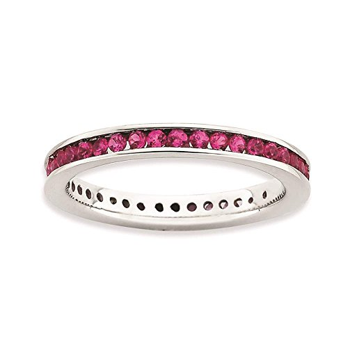 925 Sterling Silver Rhodium-plated Polished Created-Ruby Eterntiy Ring by Stackable Expressions Size 8