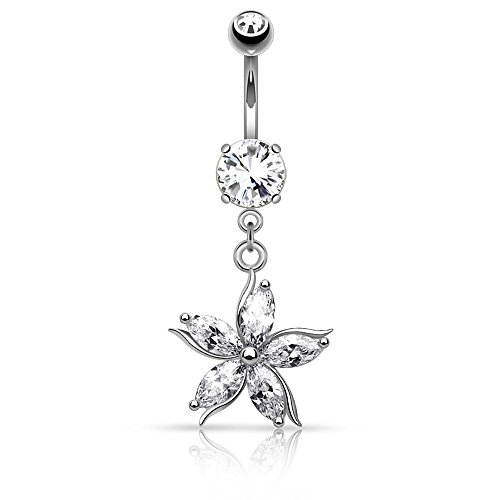 Dynamique Flower with CZ Shard Petals Dangle 316L Surgical Steel Belly Button Ring (Sold Per - Dangle Flower Ring Belly