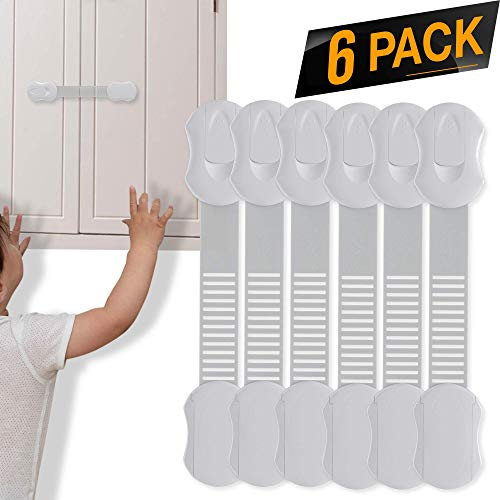 TinyPatrol Child Proof Cabinets, Drawers, Toilet Seat, Fridge and Oven with 3M Adhesive & Adjustable Strap Latch System [EASY TO USE FOR BUSY PARENTS] Re-Usable And Multi-Purpose – 6 PACK