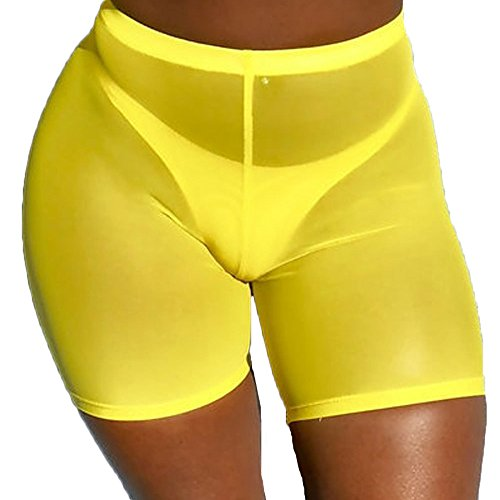 Multitrust Sexy Women See Through Sheer Swimsuit Cover up Short Pants Bikini Bottom Cover-up Pants (Yellow, L)