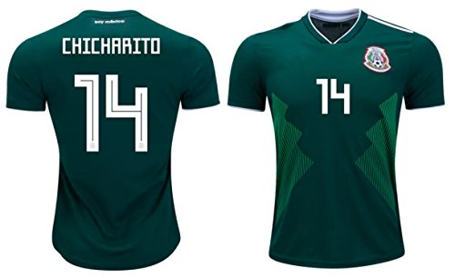 346fc9747b2da Chicharito #14 Javier Hernández Mexico Soccer Jersey Men's Home/Away Adult  World Cup Short Sleeve (M, Home)