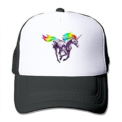 MZONE Adjustable Two-toned Hats Caps Rainbow Unicorn Hip Hop Hats Black