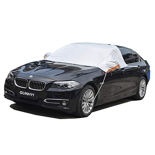 GUNHYI Snow Ice Windshield Cover,Car Sun Frost Shade covers in winter and summer,With Mirror pocket Fit sedan hatchback(260x160 CM))