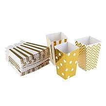 WINOMO 50pcs Popcorn Boxes Trio Miniature Scalloped Edge Cardboard Party Candy Container