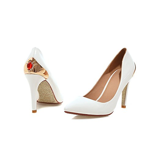 Latasa Womens Fashion Pointed-toe High Heel Pumps Shoes White fCrXYT