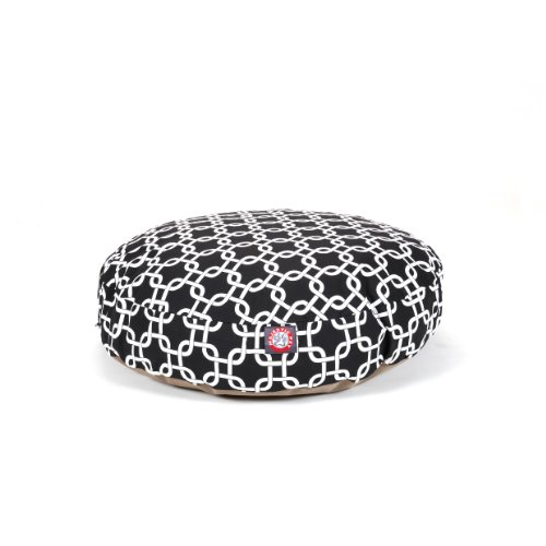 Black Links Small Round Indoor Outdoor Pet Dog Bed With Remo