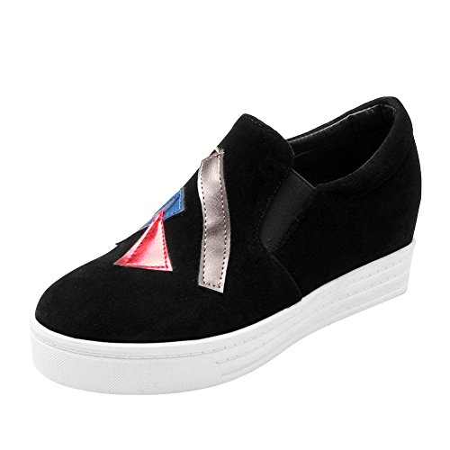Charm Foot Womens Slip on Wedges Loafers Shoes Black n6oUj