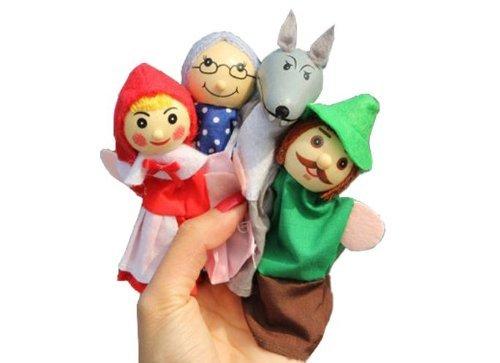 [해외]SMO Upmall Little Red Riding Hood Wood Finger Puppets 4 Pcs Story Telling Nursery Fairy Tale by MOS / SMO Upmall Little Red Riding Hood Wood Finger Puppets 4 Pcs Story Telling Nursery Fairy Tale by MOS