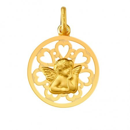 ANGE RAPHAEL - Médaille Religieuse - Or 18 carat - Hauteur: 16 mm - www.diamants-perles.com