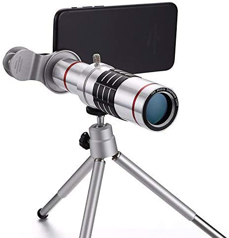 Silvery 18X Metal Telescope Tube 18X Optical Manual Focus Telephoto Lens for iOS Andriod Smartphones Include Tripod+Bag+Lens Cap+Cloth+Universal Clip Camera Lens,Hangang Cell Phone Camera Lens