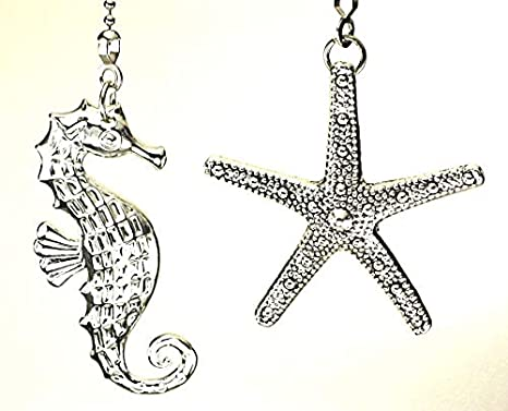 Amazon Com 2 Piece Silver Starfish And Seahorse Ceiling Fan Pulls Set Kitchen Dining