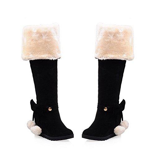 Damen Bowknot goldfarbene Stiefel erhöhen die in gesponnene N mattierten Schnalle Schwarz A g7qnw5AxHI