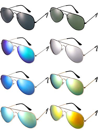 8 Pairs Classic Aviator Glasses Colorful Mirror Sunglasses with Metal Frame for Men and Women Wearing -