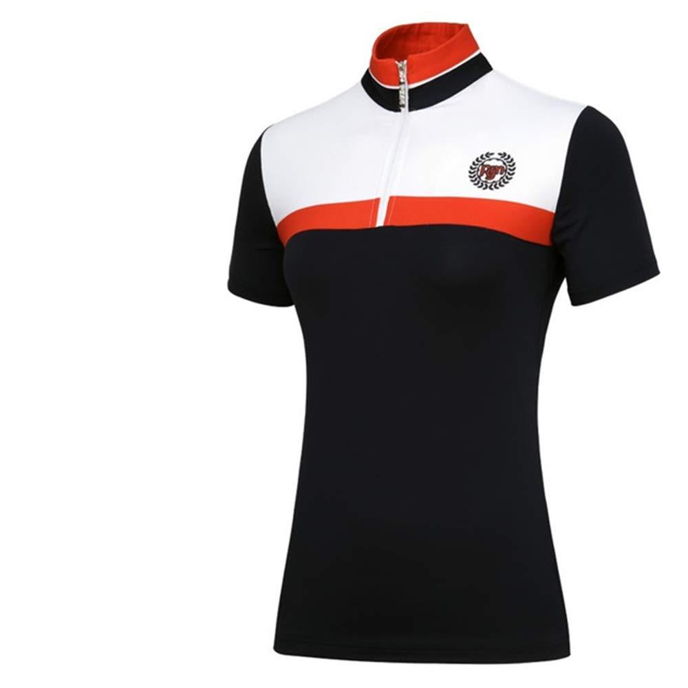 ゴルフ女性服セットパッチワーク通気性ゴルフウェアスカートセットレディース半袖シャツ+プリーツスカート Medium Coat B07Q7XDYGC