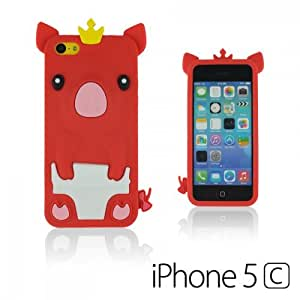 LJF phone case OnlineBestDigital - Piggy Style Silicone Case for Apple iPhone 5C - Red