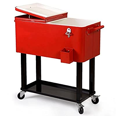 Patio Deck Cooler Rolling Outdoor 80 Quart Solid Steel Construction Home Party