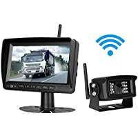 iStrong Digital Wireless Backup Camera and 7 Monitor System Kit for Trailer/RV/Trucks/Motorhome/Boat Working Over 300 ft Stable Signals Guide Lines Optional Waterproof Night Vision Built-in Wireless