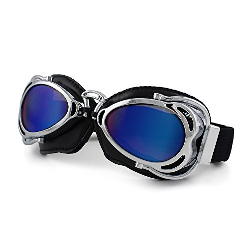(Motorcycle Ridding Goggles Sports Outdoor Clear Lenses UV Protection Sunglasses Vintage Aviator Pilot Goggles (Silver Frame with Color Lenses))