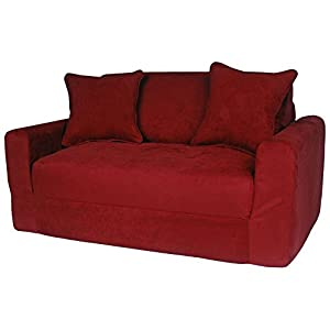 Awesome Fun Furnishings Micro Suede Sofa Sleeper With Pillows, Red