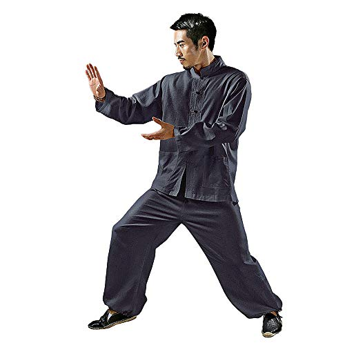 (KSUA Mens Tai Chi Uniform Kung Fu Clothing for Martial Arts Zen (Blue, US L))