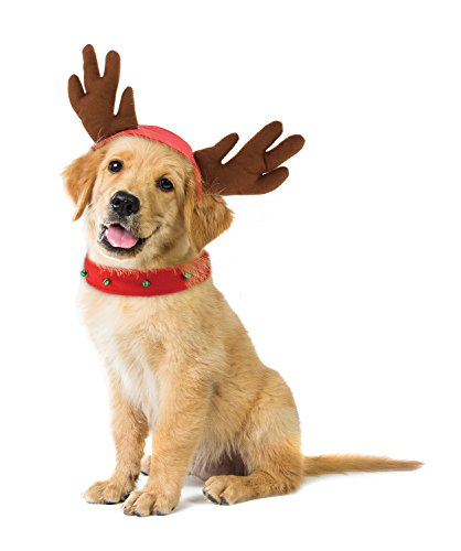 KOVOT Holiday Dog Reindeer Costume - Reindeer Antlers Hat & Bell Collar - Small/Medium