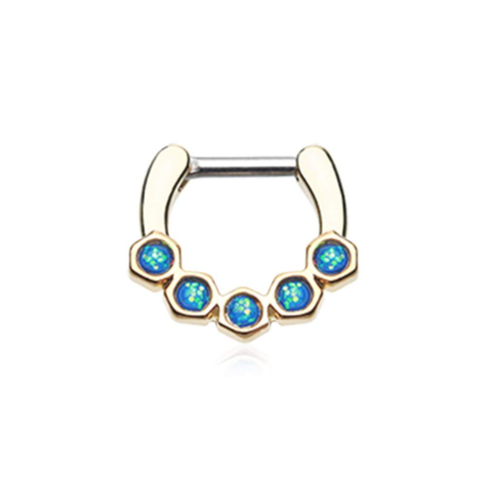 Multiple Sizes Golden Opal Hexa Gemina Septum Clicker 316L Surgical Stainless Steel Body Piercing Jewelry For Women and Men DavanaBody